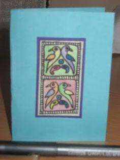 madhubani painting    Card size - 6''X4''    envelope included ( manila paper )
