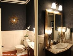 Paint your bathroom a bold black hue and then stencil the Marrakech Trellis pattern! http://www.cuttingedgestencils.com/moroccan-stencil-marrakech.html