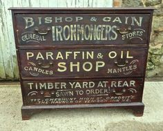 Painted Pine Chest Of Drawers, Advertising Bishop - Antiques Atlas Retro Furniture, Paint Furniture, Brown Furniture, Refurbished Furniture, Antique Chest, Antique Sideboard, Retro Dresser, Antique Signs, Vintage Signs