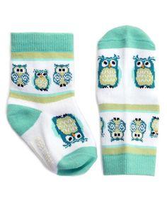 Look at this #zulilyfind! White & Aqua Owls Socks by Wee Urban #zulilyfinds