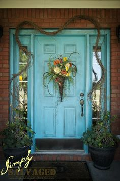 I think I'm gonna paint my front door Turquoise!!! My house is red brick and we are painting the shutters black! Love the way it looks!