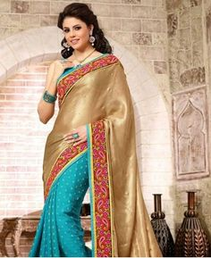 Buy Angelic Sky Blue And Chikoo Georgette Sarees [APRG3135] at $68.13