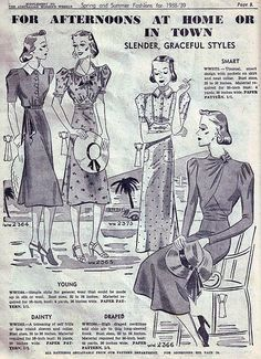 Slender, graceful styles for afternoons at home in town (1938-39). #vintage #1930s #fashion #illustrations