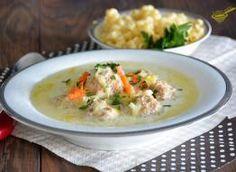 zupa serowo - porowa z pulpecikami Cheeseburger Chowder, Mozzarella, Thai Red Curry, Meat, Chicken, Ethnic Recipes, Food, Cake, Essen