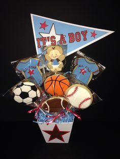 Baby Boy - Sports themed baby shower centerpiece. Doubles as table decoration and favors.