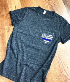 Thin Blue Line Heart Flag Boyfriend Fit Pocket Tee | Law Enforcement | Police Wife | Police Gear | Support Blue | Back the Blue #leo #support #etsyfinds #gifts #ad