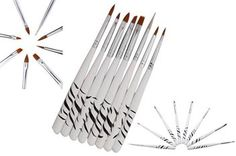 Set of 8 x Acrylic Nail Art Brushes & Tool