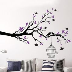 Tree Branch Wall Art Sticker with Bird Cage Removable Vinyl Wall Decals Wall Stickers for Living Room Home Office Decor Bird Wall Art, Metal Tree Wall Art, Mural Wall Art, Vinyl Wall Art, Home Decor Wall Art, Tree On Wall, Tree Design On Wall, Rooms Home Decor, Room Decor