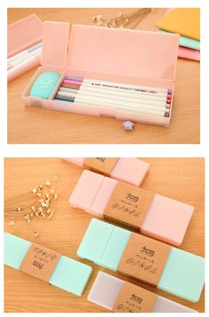 "title=""Simple Pattern Manicure Sticker Bundle""> Cute Kawaii Transparent PP Plastic Pencil Case Lovely Pen Box For Kids Gift Office School Supplies Mat."