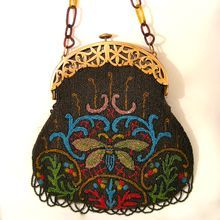 Vintage Beaded Purse Dragon Flies with Celluloid Frame