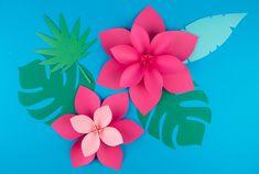 Printable - Fleurs tropicales en papier - My Little Day Big Flowers, Exotic Flowers, Tropical Flowers, Purple Flowers, Cactus Flower, Lilies Flowers, Yellow Roses, Pink Roses, Paper Flower Backdrop