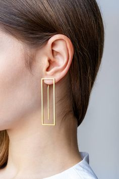 Minimalist Architectural Jewelry - Axquisite Earrings in 18K Gold Plated Sterling Silver by MOPHT Studio