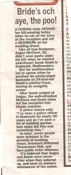 Pantsless kilt-wearing Scotsman + white wedding dress = SKIDMARK! - Imgur