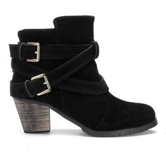 Yoins Yoins Black Double Buckle Strap Short Boots ($42) ❤ liked on Polyvore featuring shoes, boots, ankle booties, ankle boots, black, black low heel boots, low heel ankle boots, bootie boots, black ankle booties ve black booties