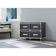 Homestar Black Fabric 4-drawer Dresser - 18438691 - Overstock.com Shopping - Great Deals on Other Storage