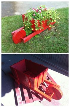 Wheelbarrow planter made from recycled wooden pallets.   Idea sent by Sorin ! #Decoration, #Garden, #PalletPlanter, #PalletWheelbarrow, #Upcycled