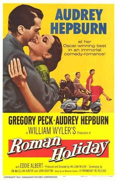 Roman Holiday is a 1953 romantic comedy directed and produced by William Wyler and starring Gregory Peck and Audrey Hepburn. Hepburn won an Academy Award for Best Actress for her performance; the screenplay and costume design also won. Famous Movies, Old Movies, Vintage Movies, Great Movies, Famous Movie Posters, Cinema Posters, Vintage Tv, Audrey Hepburn, Gregory Peck