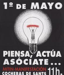 Political Posters, Labadie Collection, University of Michigan: 1 de Mayo: Piensa, Actua Asociate
