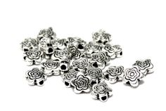 50pcs--Flowres Metal Bead, Antique Silver, 6mm (B49-6) Double Ring, Head Pins, Little Bag, Metal Beads, Ball Chain, Antique Silver, Antiques, Unique Jewelry, Handmade Gifts