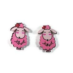 Bouton bois mouton rigolo rose scrapbooking 25x15 mm x  2