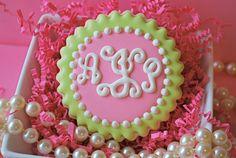 Preppy Script Monogram Decorated Sugar Cookies