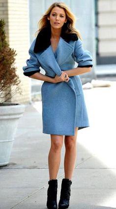 Blake Lively in blue #coat