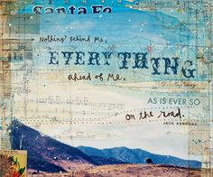 """Ever So - large 16""""x20"""" original Jack Kerouac word art mixed media painting on canvas - rustic inspirational travel collage word art"""