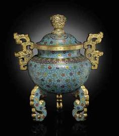 AN UNUSUAL CLOISONNE ENAMEL TRIPOD CENSER AND COVER  QIANLONG PERIOD (1736-1795)http://www.christies.com/