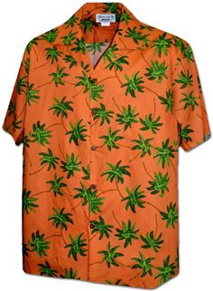 3fc2bf7b7d Pacific Legend Men s Hawaiian Shirt 410-3892 ORANGE  Palm Tree Orange  Mens