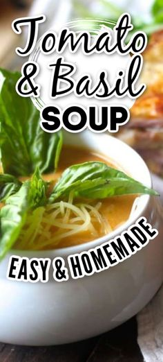 As the nights become chilly, we are craving warm, cozy meals more and more. Tomato Soup and grilled cheese sandwiches make the perfect combination for a delicious fall/winter dinner. Vegetable Soup Recipes, Easy Soup Recipes, Chili Recipes, Fall Recipes, Healthy Soups, Healthy Recipes, Homemade Tomato Basil Soup, Easy Crockpot Soup, Veal Stew