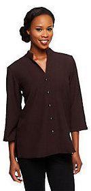 Susan Graver Stretch Crepe 3/4 Sleeve Mandarin Collar Shirt Jacket