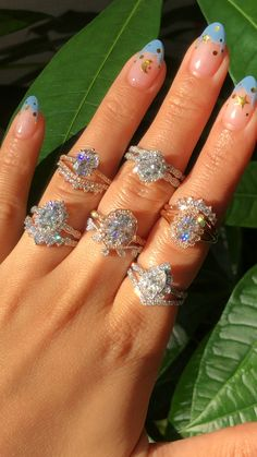 Which of these Moissanite & Diamond Bridal Ring Set is your favorite? Check out more of our unique bridal sets by La More Design here~ Dream Engagement Rings, Vintage Engagement Rings, Vintage Rings, Bridal Ring Sets, Bridal Rings, Wedding Rings, Moissanite Diamonds, Cute Jewelry, Jewelry Accessories
