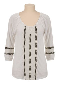 3/4 Sleeve Embroidered Peasant Top   $29.00