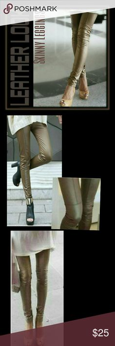 """Leather Look Skinny Leggings Pull on style w elastic waist  35.9"""" in Length Waist 21"""" - 27.9"""" Pants Leggings"""