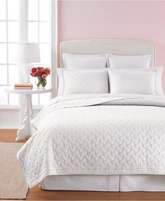 Martha Stewart Collection White Basket Stitch King Quilt - Quilts & Bedspreads - Bed & Bath - Macy's