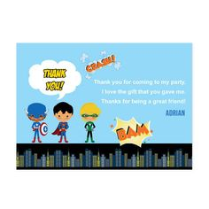 superhero save the date invitations | Superhero Kids Party, Thank You Cards