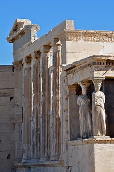 Erechtheum, with caryatid columns, on the Acropolis in Athens, Greece. Greek History, Ancient History, European History, American History, Ancient Ruins, Ancient Greece, Ancient Artifacts, Ancient Egypt, Santorini