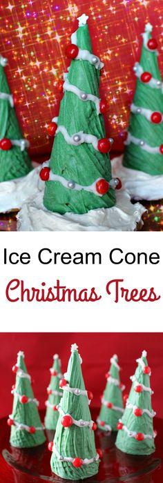 Ice Cream Cone Christmas Trees - a wonderful holiday treat!
