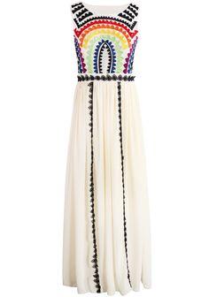 Apricot Sleeveless Embroidered Pleated Chiffon Dress - Sheinside.com