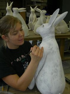 Kelly Connole\Kelly Connole / in the studio Title: in the studio Artist: Kelly Connole Technique: handbuiltKelly Connole , coil built bunny ZKelly Connole image of Kelly working on her bunny, beautifulKelly Connole is sculpting a bunny rabbit out of Paper Mache Projects, Paper Mache Clay, Paper Mache Sculpture, Paper Mache Crafts, Clay Art, Art Projects, Rabbit Sculpture, Diy Paper, Paper Art
