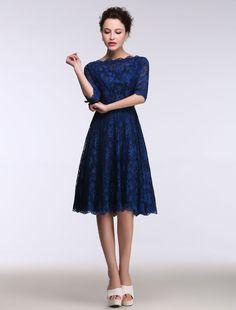 Lace Mother's Dress Short Bateau Prom Dress Half Sleeve A Line Knee Length Cocktail Dress
