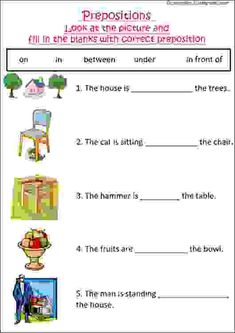 English grammar worksheet with pictures to practice preposition, ideal for grade 1 kids or esl students. Worksheets For Class 1, First Grade Worksheets, English Worksheets For Kids, Free Worksheets, Printable Worksheets, Learning English For Kids, English Lessons For Kids, Learn English Words, Kids English