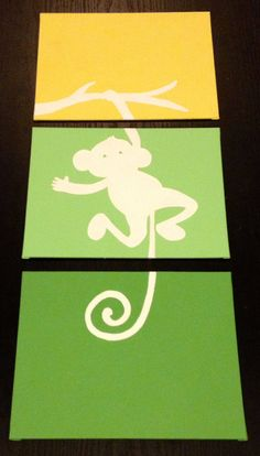 Three piece monkey painting by ApricotInc on Etsy