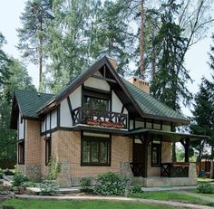 Project of a house from blocks 1543 – Architecture Ideas Dream Home Design, Home Design Plans, Exterior House Colors, Exterior Design, Tudor House, Cute House, House Entrance, Cool House Designs, House In The Woods