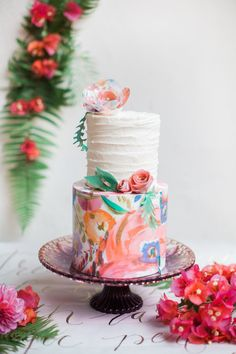 Hand Painted Wedding Cake - Belle The Magazine Individual Wedding Cakes, Small Wedding Cakes, Beautiful Wedding Cakes, Wedding Cake Designs, Beautiful Cakes, Amazing Cakes, Hawiian Wedding Cake, Watercolor Wedding Cake, Painted Wedding Cake