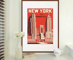 Vintage Style NEW York Poster Print 'THE Wonder City' Unframed | eBay