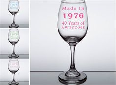 40th Birthday Wine Glass Made In 1976  40 Years by LightedBottle