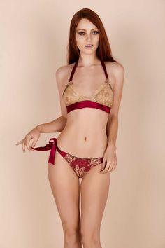 f46b238d80 Harlow Soft Bra and Tie Side Knicker in Azalea and Gold by Gilda and Pearl  Designer