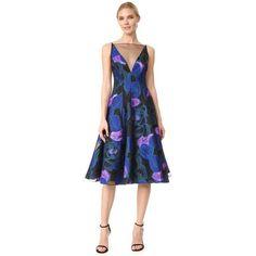Lela Rose V Neck Full Skirt Dress ($2,515) ❤ liked on Polyvore featuring dresses, lapis multi, v neck dress, midi dress, v-neck dresses, spaghetti strap dress and blue print dress
