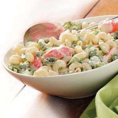 Flavorful Crab Pasta Salad: This is delicious, I used regular mayo and add grated carrots, and sliced celery. Crab Pasta Salad, Seafood Salad, Pasta Salad Recipes, Seafood Dishes, Pasta Dishes, Chicken Salad, Crab Recipes, Cooking Recipes, Healthy Recipes